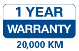 1 Year Warranty - 20,000 KM